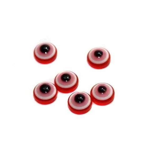 200 Eye Cabochon Beads Red 7 mm