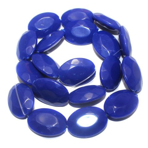 30+ Acrylic Neon Faceted Flat Oval Beads Dark Blue 22x16mm