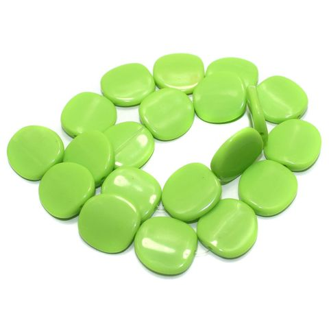 2 Strings Acrylic Neon Flat Disc Beads Pridot 20mm