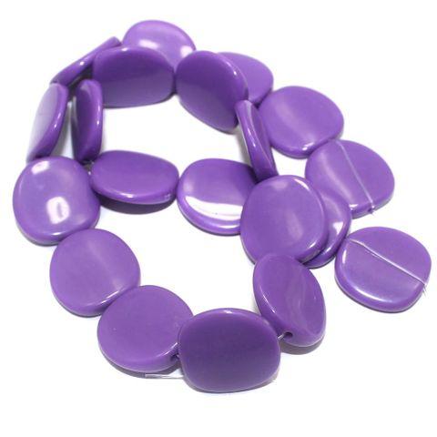 2 Strings Acrylic Neon Flat Disc Beads Purple 20mm
