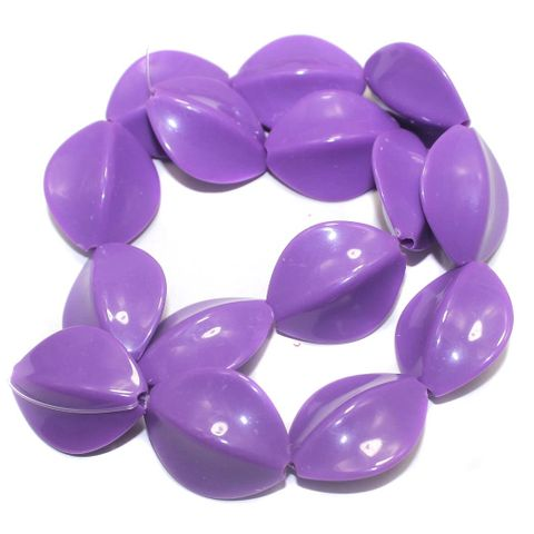 2 Strings Acrylic Neon Flat Tumble Beads Purple 28x23mm