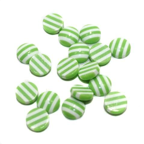 200 Acrylic Cabochon Beads Light Green 8mm