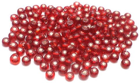 Glass Seed Beads Silver Line Red (100 Gm), Size 8/0 (3 )