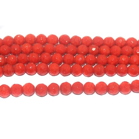 35+ Faceted Glass Round Beads Red 10 mm