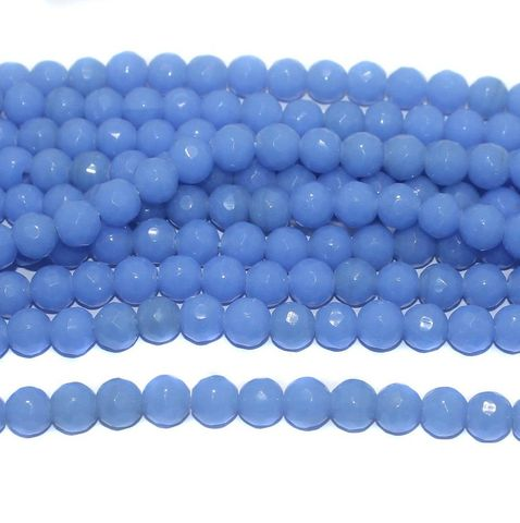 35+ Faceted Glass Round Beads Royal Blue 10 mm