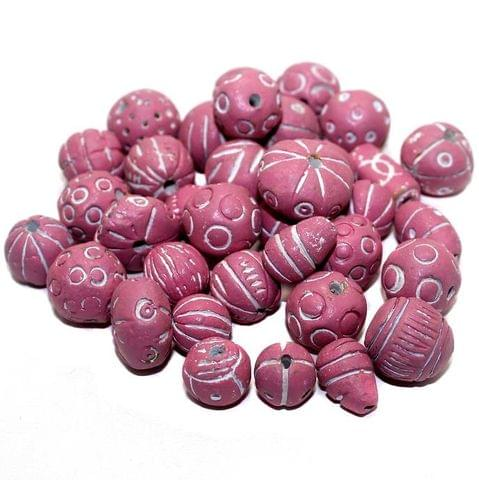 50 Clay Beads Assorted Hot Pink 12-30mm