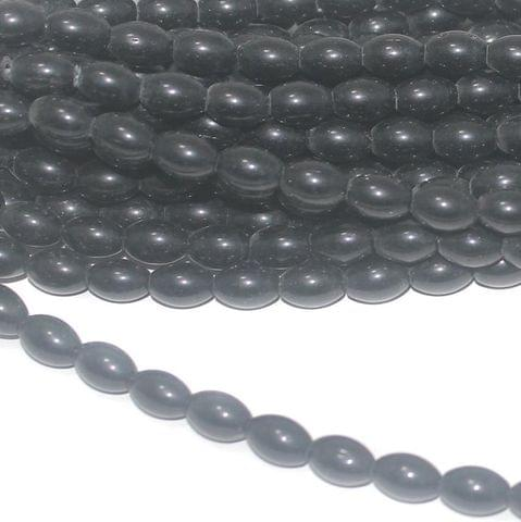 Black Oval Glass beads 10x7mm 12 Strings