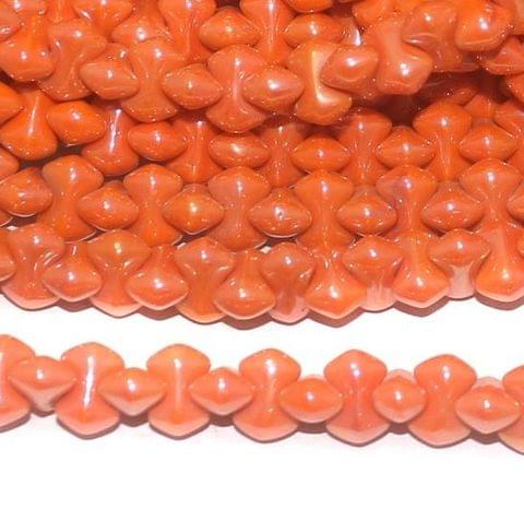 Orange Luster glass Bamboo beads 9x5mm 12 Strings