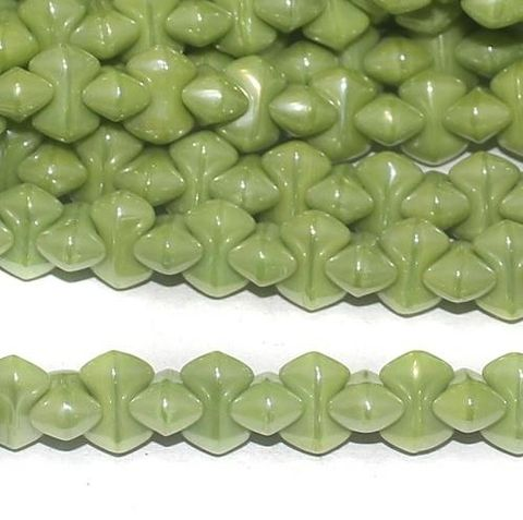Parrot Green Luster glass Bamboo beads 9x5mm 12 Strings