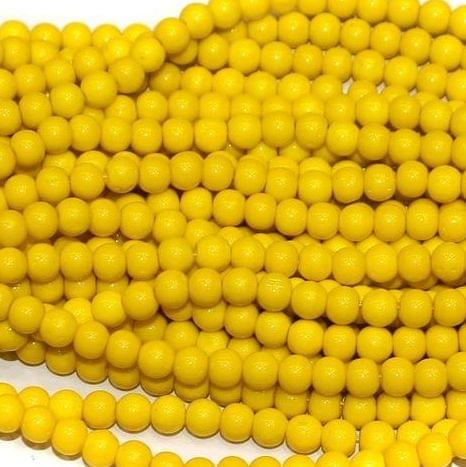 Fire Polish Round Beads Yellow 3mm 10 Strings