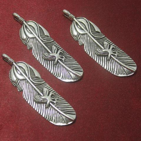 20 Pcs. German Silver Leaf Pendants 48x15 mm