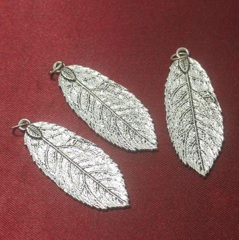 20 Pcs. German Silver Leaf Pendants 45x20 mm
