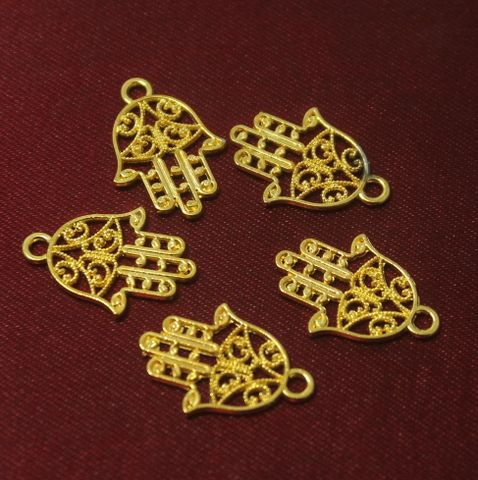 100 Pcs. German Silver Charms Golden 21x14 mm
