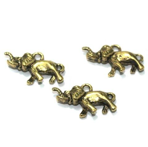 25 Pcs. German Silver Golden Elephant Charms 25x13 mm