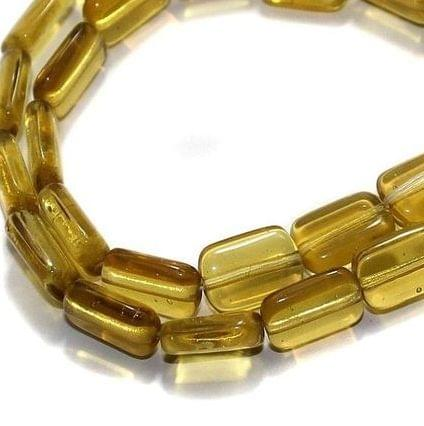 5 Strings Fire Polish Square Beads Yellow 15x10mm