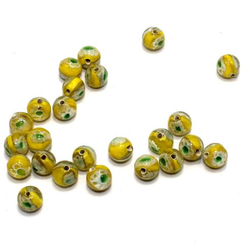 250 Millefiori Round Beads Yellow 8mm