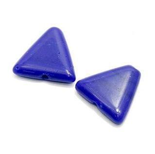 2 Glass Triangular Beads Blue 25x23mm
