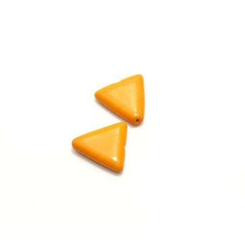 2 Glass Triangular Beads Golden 25x23mm