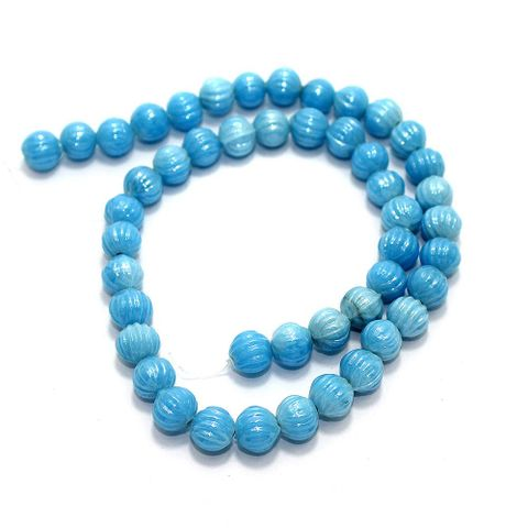 5 Strings Kharbooja Glass Beads Turquoise 10mm
