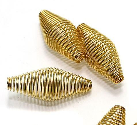 50 Metal Golden Spring Beads 30x12mm
