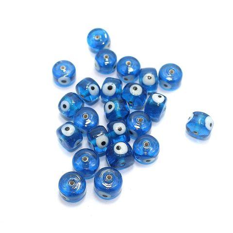 125 pcs Evil Eye Tyre Beads LIght Blue 13x9mm