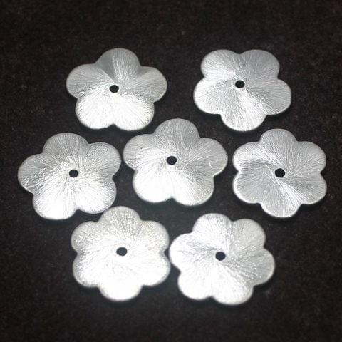50 German Silver Flower Brushed Beads 16mm