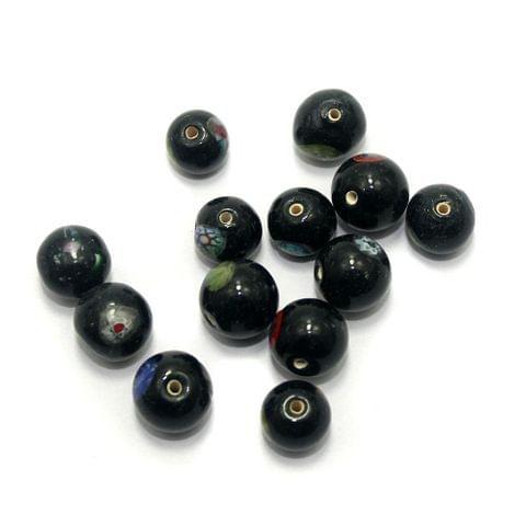 80 Chevron Round Beads Black 10-12mm