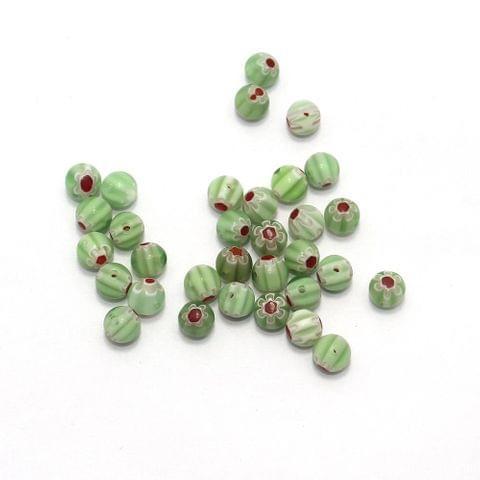100 Chevron Round Beads Peridot 8mm