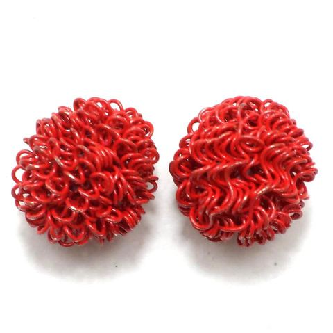 4 Wire Mesh Round Beads Red 18mm