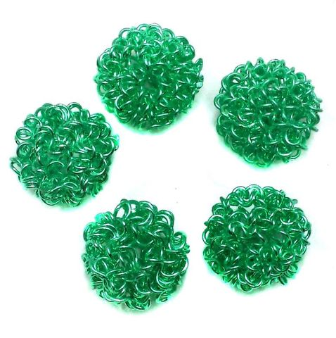 4 Wire Mesh Round Beads Green 12mm