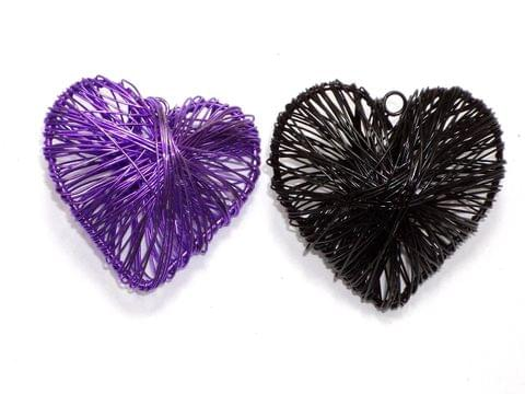 2 Wire Mesh Heart Beads Assorted 50x55mm