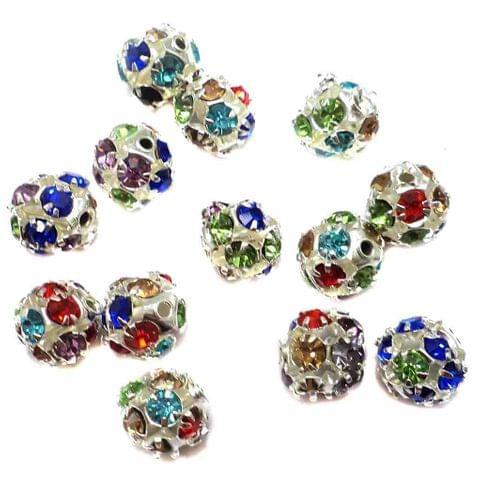 20 Rhine Stone Round Beads Multi Color 8mm
