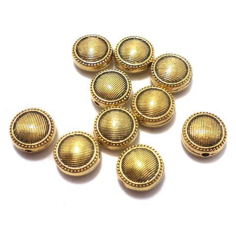 50 Pcs. German Silver Flat Round Beads Golden 10x5 mm