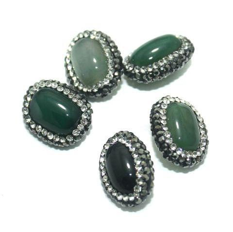 Gemstone CZ Beads 5 Pcs 15x19mm Green