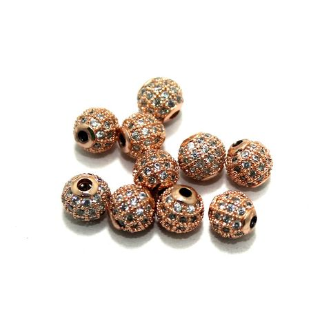 CZ Beads Round 10 Pcs Copper 6mm