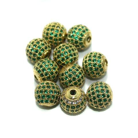 CZ Beads Round 10 Pcs Green 10x10mm