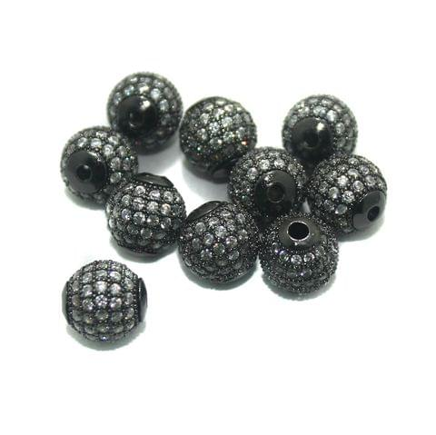 CZ Beads Round 10 Pcs Black 10x10mm