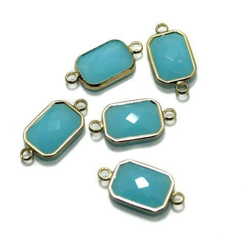 Golden Gemstone Connectors 5 Pcs Turquoise 11x22mm