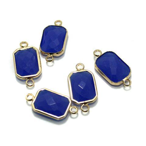 Golden Gemstone Connectors 5 Pcs Blue 11x22mm