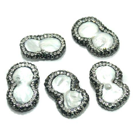 Gemstone CZ Beads 4 Pcs 16x25mm White