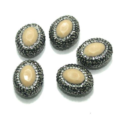 Gemstone CZ Beads 5 Pcs 18x23mm Peach