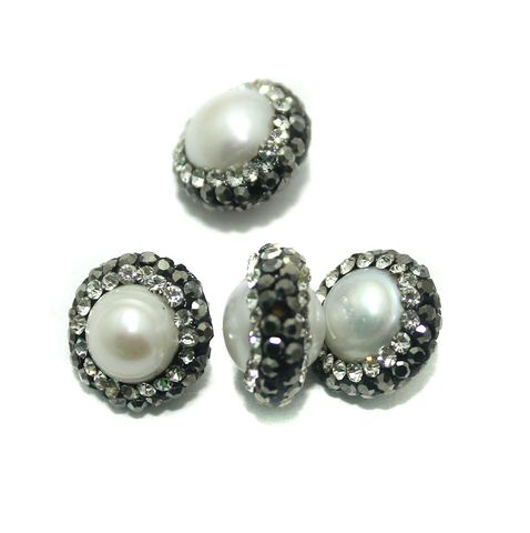 Gemstone CZ Beads 4 Pcs 9x13mm White