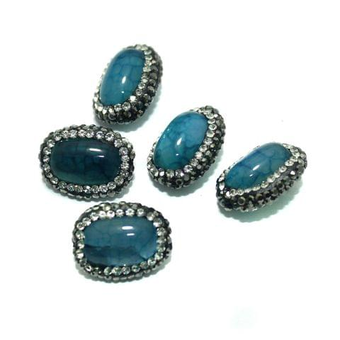 Gemstone CZ Beads 5 Pcs 15x19mm Turquoise