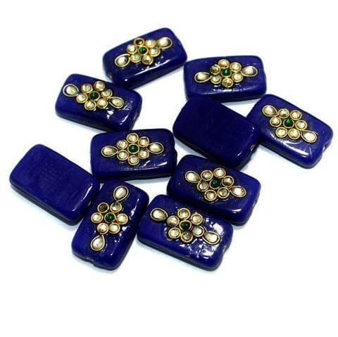 Kundan Beads Rectangle Blue 12 Pcs 24x14mm