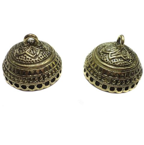 2 Pair German Silver Jhumka Earring Component 11x22mm