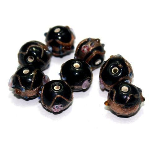 20 Wedding Cake Round Beads Black 12x15mm