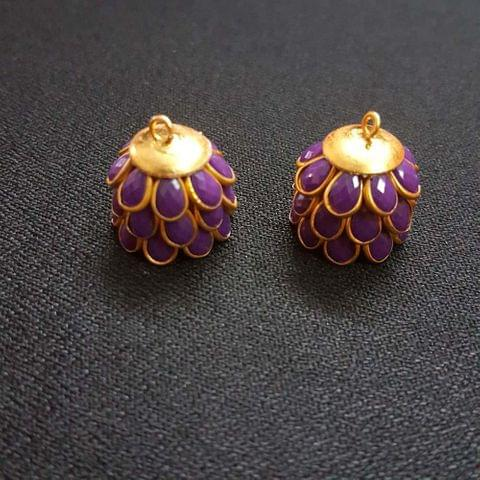 Purple, Pacchi Jhumka 16mm, 2 Pair