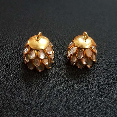 White, Pacchi Jhumka 16mm, 2 Pair