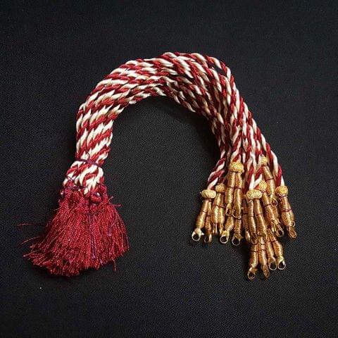 1 Dozen, 12 Inch Red And Off White Necklace Dori (Sarafa)
