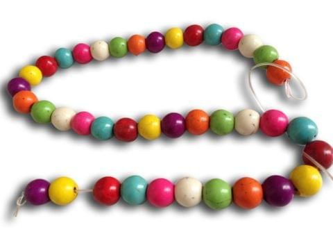 Jewellery Making Synthetic Beads 10mm Round Assorted Color Mix (Pack of 2 strings, 40 beads/string)